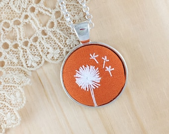 Orange Dandelion Hand Embroidered Necklace, Floral Necklace, Dandelion Pendant, White Wishing Flower, Dandelion Embroidery