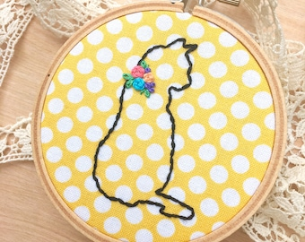Yellow And White Polka Dot Kitty Cat Embroidery Hoop Art, Embroidered Kitty Cat, Kitten Art, Cat Silhouette, Kitty Outline, Floral Collar