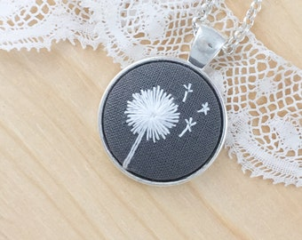 Gray Dandelion Hand Embroidered Necklace, Floral Necklace, Dandelion Pendant, Wishing Flower, White Flower, Dandelion Embroidery