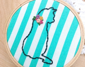Aqua And White Stripes Kitty Cat Embroidery Hoop Art, Embroidered Kitty Cat, Kitten Art, Cat Silhouette, Kitty Outline, Floral Collar