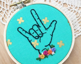 Aqua And Metallic Gold Sign Language Interpreter Appreciation, I Love You In Sign Language, Deaf Awareness, Nursery Embroidery Hoop Art