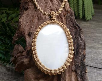 Shell Macrame Necklace / Beachy / Pendant / Wrapped / Sandy