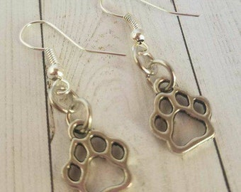 83dfabdef Dog Paws Earrings Antique Silver Dangle Dog Lover