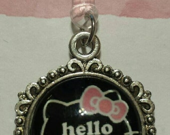 Hello Kitty Cell Phone Dust Plug Tibetan Silver Charm All Phones
