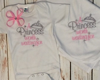 Princess worth Waiting for romper and blanket, Princess , blanket, Princess crown romper