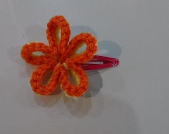 Orange/Yellow Flower Hair Clip