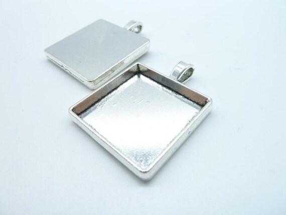 Rectangular Pendant Tray suitable for 25x25mm square base set blank bezel frame