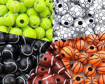 50/100/150PCS Acrylic Sports Charms Acrylic ball Sports Ball Beads Mix Acrylic Beads Soccer Ball Beads Baseball Beads Jewelry Making