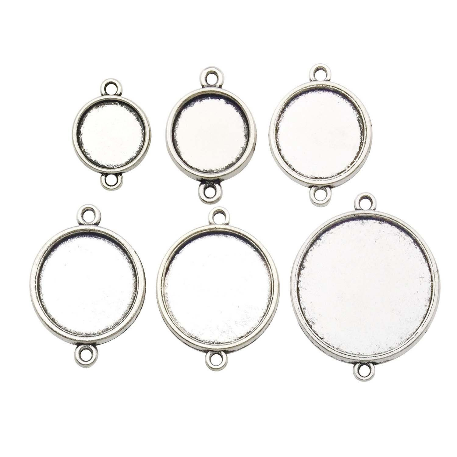 10 pcs 12mm Round Double sided Cabochon Trays Antique Silver Buy settings or kit