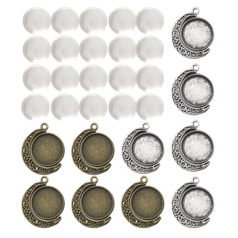 5 silver Tone double sided Cabochon setting frames round pendants 12 mm pictures