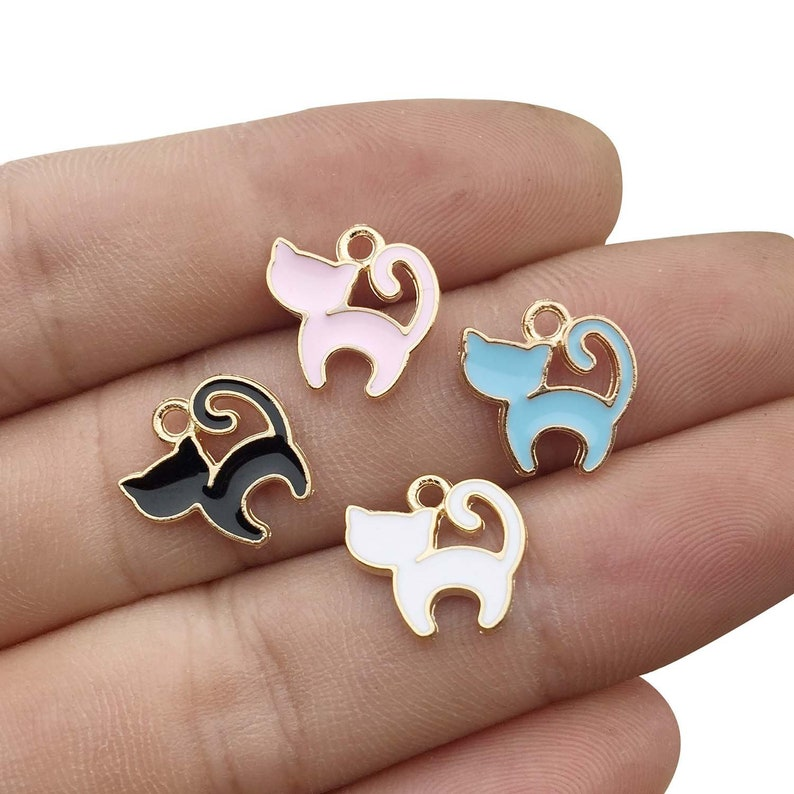 Gold Plated Enamel M161 48PCS Cat Charms