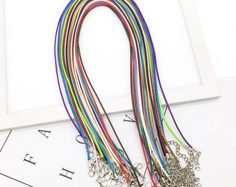 10pcs 1.5mm Handmade Leather Adjustable Braided Rope Choker Necklaces & DIY Pendant Charms Findings Lobster Clasp String Cord