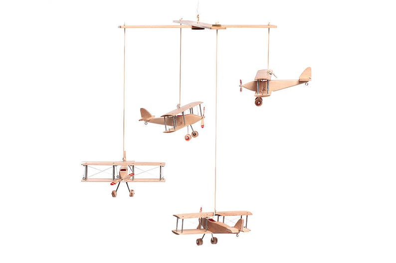 Airplane Kids Mobile 4 Beech Hanging Planes Decorative Wooden Airplane Travel Theme Nursery Baby Shower Giftmodel Nursery Decor Mobile