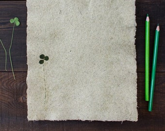 Light green handmade paper Beautiful handmade paper with clover leaf Torn edge paper Decorative paper Сalligraphy paper (#30clover)