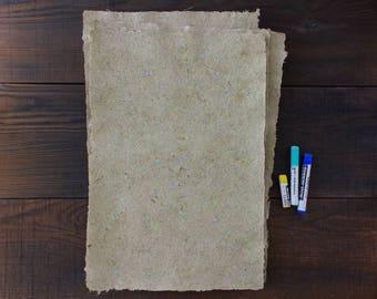 Handmade paper with light blue petals - Deckle paper - Decorative paper - Textured paper - Single sheet (code#30pb)