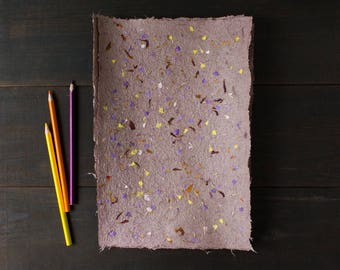 Handmade paper with petals - Deckled edge paper - Decorative paper - Textured paper - A4 paper -Single sheet (#31p)