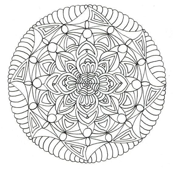 Página para adultos colorante Mandala 2.   Etsy