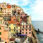 Italy photography, Italian decor, colorful wall art, Cinque terre print, pastel colors, large wall art, coastal decor, beach decor,