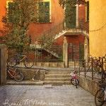 Italy photography, bicycle print, travel photo, home decor, cinque terre print, rustic decor, large wall art, orange yellow green, urban art