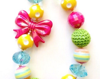SALE--Colorful Springtime Chunky Bead Necklace