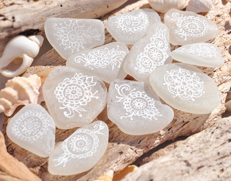 Hand Painted Mehndi Style Patterned White Sea Glass Pieces image 0