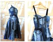 Corset dress Denim dress Maxi dress Boho dress Full skirt Sleeveless dress Long dress Cotton dress Patchwork Boho Hippie dress Steampunk
