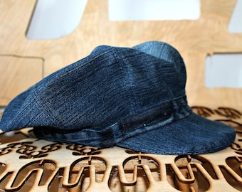 a197ce69060d5 Handmade Denim hat Large Unisex hat Newsboy cap Baker Boy Cap Sun hat  Edwardian Peaky Blinder Denim cap Bohemian Unique Repurposed Denim hat