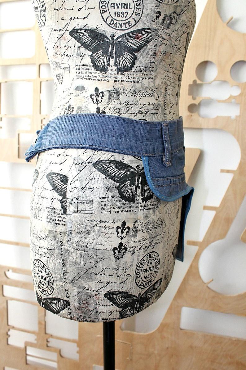 Upcycled Blue Denim Apron Vintage jeans Wrap Layering Patchwork Unique Repurposed Denim Cafe owner Wearable art Bohemian Tool belt