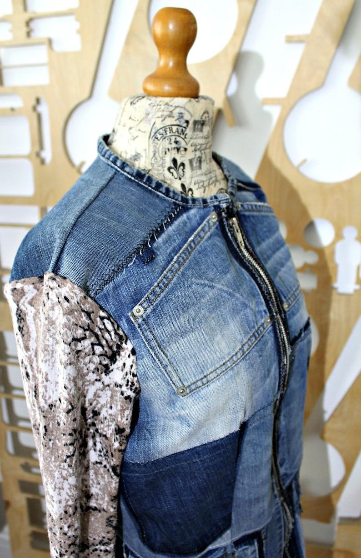 Denim jacket Cotton jacket Steampunk Patchwork Grunge Boho Hippie Southwestern Duster jacket Trucker jacket Biker Preppy Hipster Festival