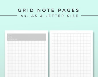 Grid Note Ver 2.0, Printable Planner Inserts, Productivity Modern Organizer, Minimal Notebook Page, Printable Planner Pages, Grid Notepad