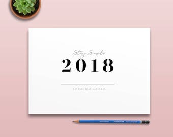 2018 Stencil Calendar, Minimal Printable Wall Calendar, 2018 Minimal Monthly Planner Page, Printable Simple Monthly Calendar, Wall Decor