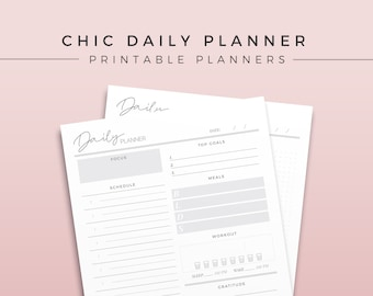 Chic Daily Planner   One Page Daily Planner, Printable Planner Inserts, Printable Deskpad, Undated Daily Agenda, Undated Planner Refill