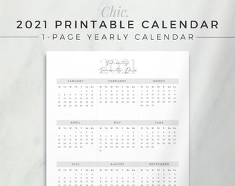 CHIC 2021 Calendar   One Page Yearly Planner, Printable Planner Insert, Dated Yearly At a Glance, 2021 Planner Refill, Simple Printable