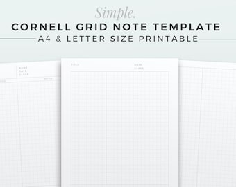 SIMPLE Cornell Grid Note Template | A4 & LETTER | Printable Note Inserts, Grid Notebook, Cornell Study Note, Grid Notebook Paper Refill
