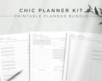 Chic Planner Kit   Printable Planner Bundle, Undated Planner Inserts, Undated Planner Refill Page, Daily Planner, Monthly Agenda, Calendar