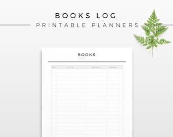 Books Log for Every Year, Printable Planner Insert, Modern Read Organizer, Minimal Book List, Printable Planner Refill, Reading Worksheet
