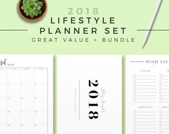 2018 Lifestyle Planner Set, Printable Planner Bundle, Modern Life Organizer, 2018 Planner Page, Calendar, Monthly, Weekly, Daily Journal Kit