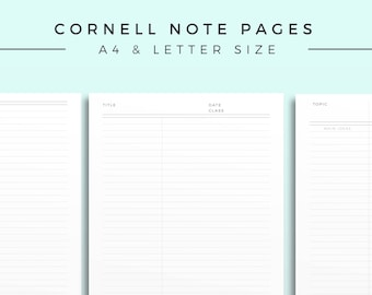 Cornell Note Template, Printable Note Inserts, Productivity Study Note, Minimal Study Journal, Printable Planner Page, Productivity page