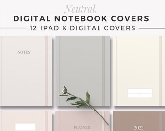 NEUTRAL Digital Note Covers   GoodNotes Template   Digital Notebook Cover   iPad Binder Note   Tablet Study Journal   Aesthetic Covers
