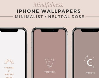 MINDFULNESS iPhone Wallpapers | ROSY BRICKS | Boho Minimalist Background, Aesthetic Phone Screen, Neutral Wallpaper, Abstract Lock Screen