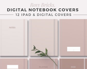 ROSY BRICKS Digital Note Covers | GoodNotes Template | Digital Notebook Cover | iPad Binder Note | Tablet Study Journal | Aesthetic Covers