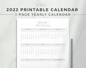 CHIC 2022 Yearly Calendar   One Page Calendar, Printable Planner Insert, Dated Yearly At a Glance, 2022 Planner Refill, Simple Printable