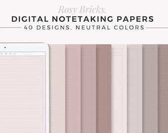 ROSY BRICKS Digital Note Template   Neutral GoodNotes Template   Digital Notebook   iPad Notepad   Tablet Study Journal   Aesthetic Notebook