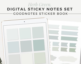 HERB GREEN Digital Sticky Notes | Goodnotes Sticker Book Edition | Neutral Sticky Notes, iPad Sticky Notes, GoodNotes Stickers, Notability