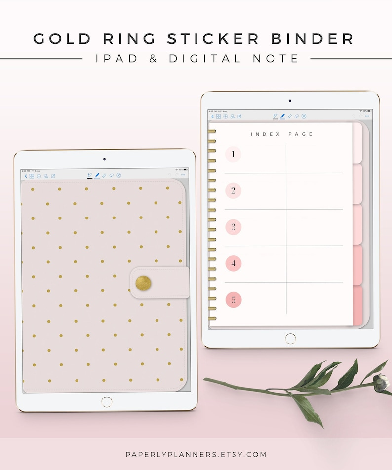 Gold Ring Digital Sticker Binder iPad Notebook Digital image 0
