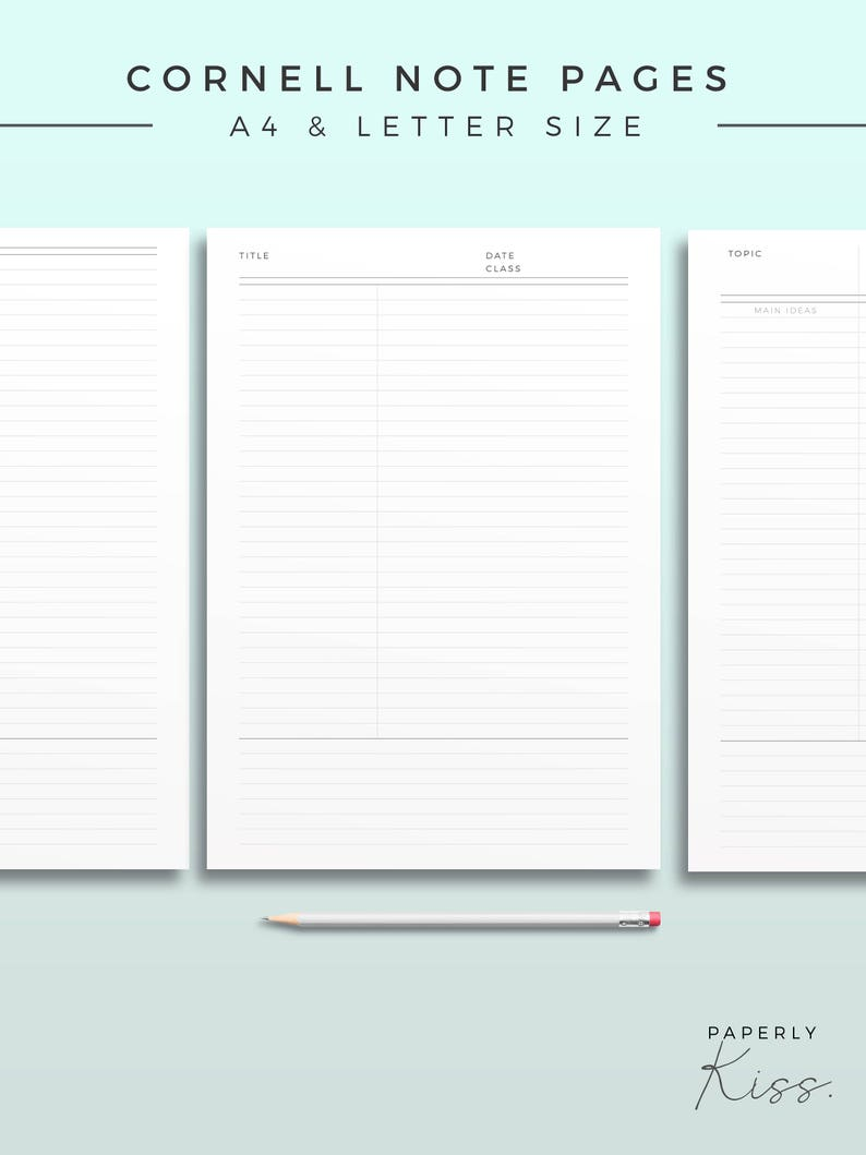 picture about Cornell Notes Template Printable referred to as Cornell Take note Template, Printable Observe Inserts, Productiveness Review Be aware, Bare minimum Investigate Magazine, Printable Planner Website page, Efficiency site