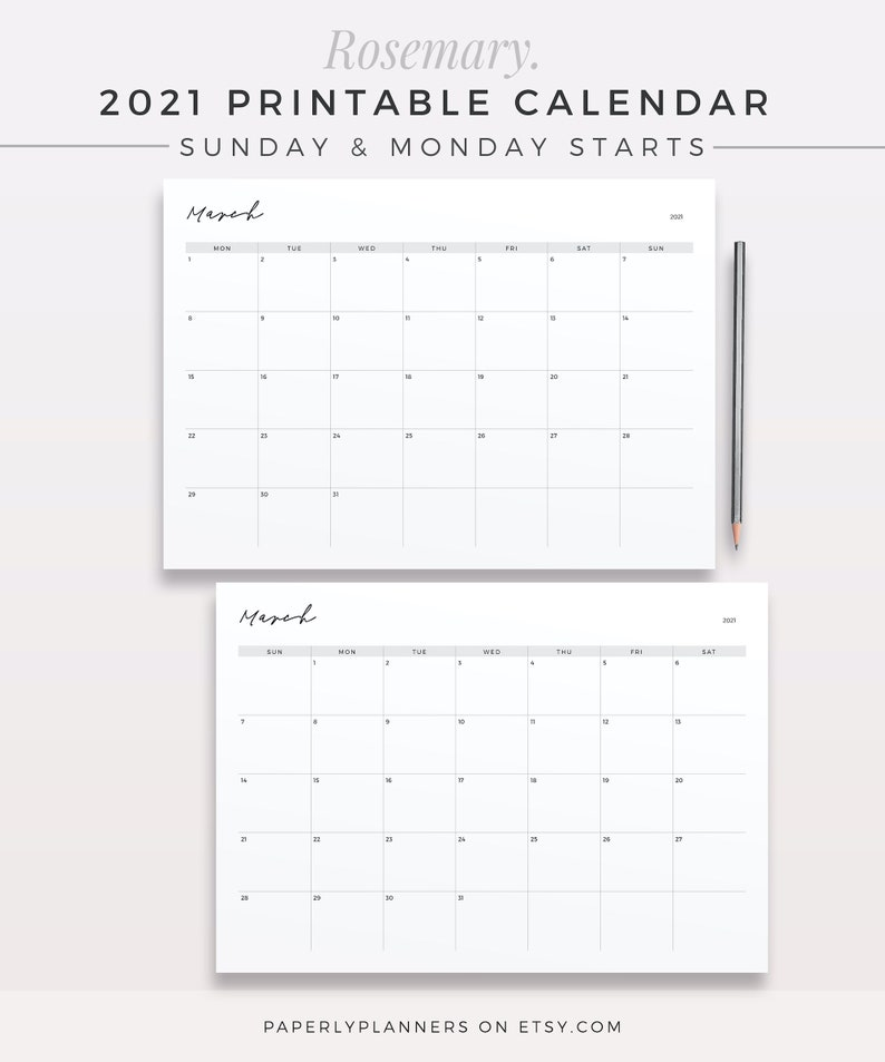 ROSEMARY 2021 Calendar One Page Monthly Planner Printable ...