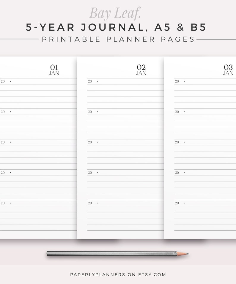 BAY LEAF 5-Year Journal  A5 & B5  Printable Planner Inserts image 0