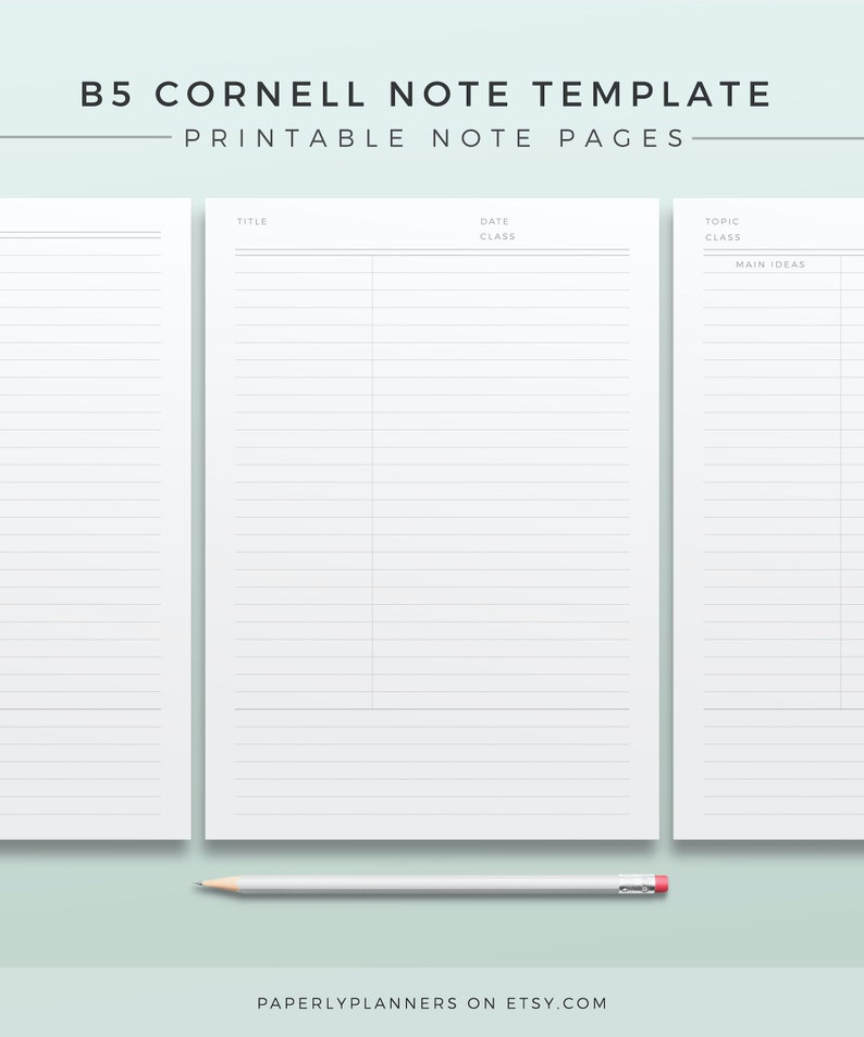 B5 Cornell Note Template Printable Note Inserts Productivity image 0