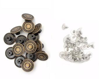 Jean Stud Buttons with Pins Plain Hammer On Denim Jacket Bronze Gunmetal 17//20mm